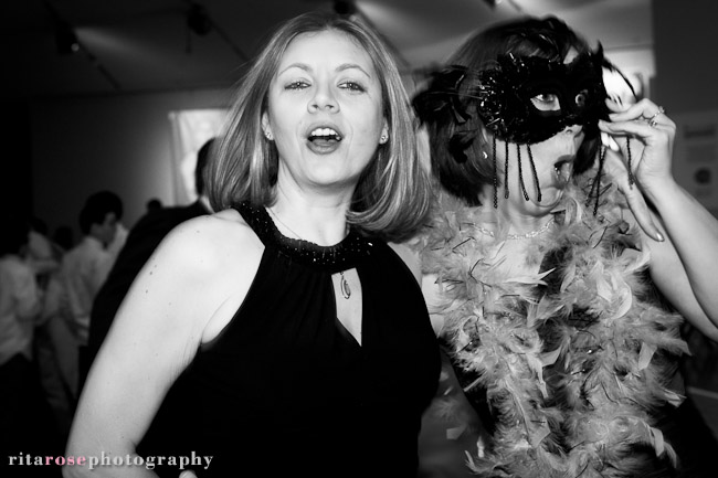 Two women dancing at a party