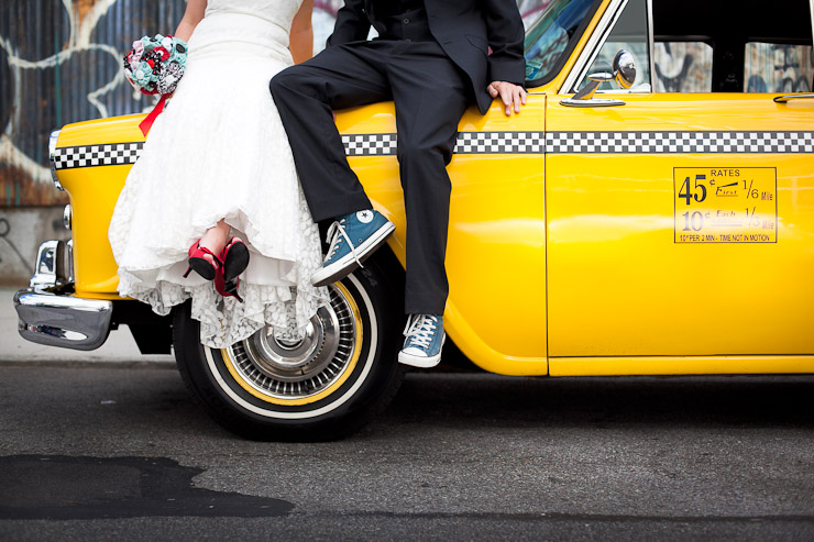 East River Park Williamsburg Wedding Photography 1960s rented cab