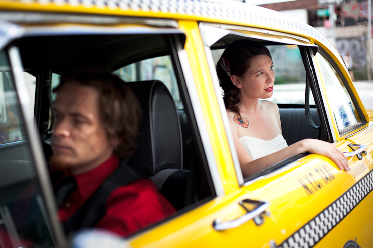 Retro taxi cab wedding photography Williamsburg Brooklyn