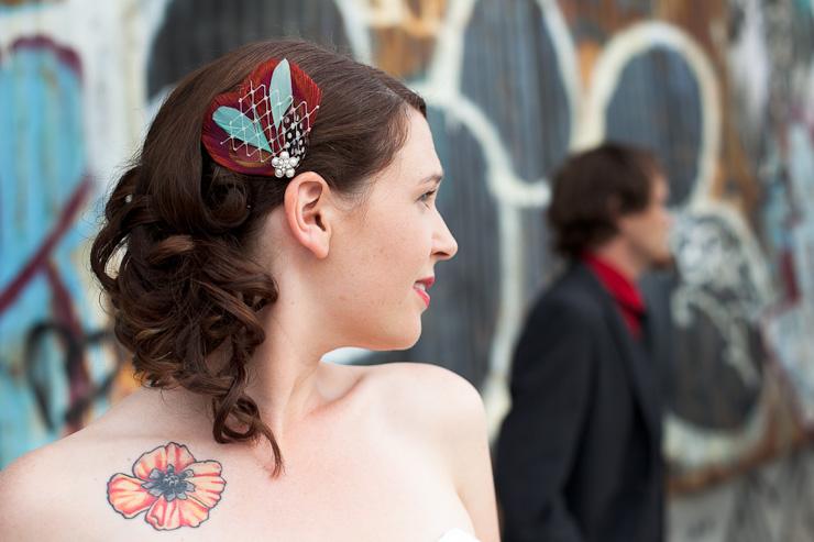 Bridal hairnet wedding photography Williamsburg Brooklyn