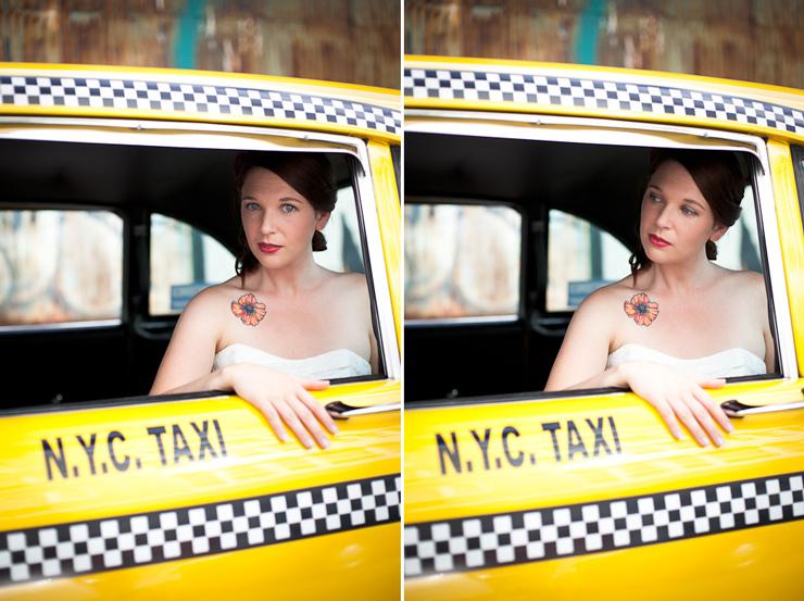 Alternative Wedding photography in retro taxi cab Williamsburg Brooklyn