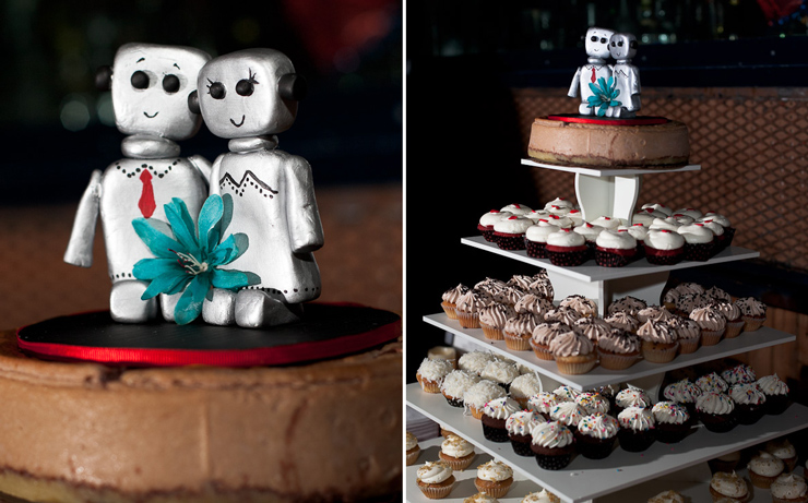 Wedding cake robot toppers - Williamsburg Brooklyn Knitting Factory